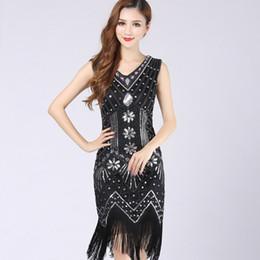 5cdd598634d Plus XS XXXL XXL Size Women V Neck sequin flapper tassel vintage dress  Bodycon Beaded Party Dress 1920S Dresses Gatsby Great