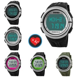 Silicone Sport pedometer watch online shopping - Sports Pedometer Heart Rate Monitor Calories Counter Digital Watch Outdoor Wrist Watches For Men Women Clock Timepiece Timer