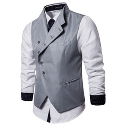 Wholesale casual waistcoat double breast resale online - Men Slim Suit Vests Business Casual Vest Party Wedding Male Single Breasted Business Casual Vests Waistcoat Gilet Homme