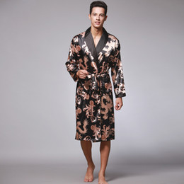 Mens Plus Size Silk Shirts Canada - Dragon Nightgown Male Bath Robes Silk Pajamas Mens Long Robes Sleepwear Home Wear Summer Spring Autumn Plus Size L XL XXL XXXL