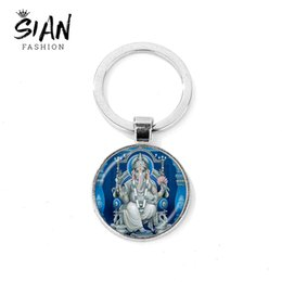 Spirit Pendants Australia - SIAN Ganesh Ganesha Keychain God of Fortune Indian Elephant Glass Pendant Key Ring Bag Car Key Chain Buddha Spirit Faith Jewelry