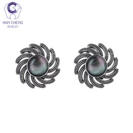 Vintage metal wheels online shopping - HanCheng New Fashion Metal Wheel Abalone Fire Opal Vintage Clip Earrings For Women Jewelry Antique Silver Plated bijoux brincos