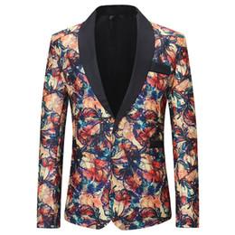 Wholesale blazers for men resale online - Casual Red Blazer Male Suit Jacket Casual Business Flower Pattern Stylish Floral Blazers For Men Party Wedding Blazer