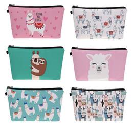 $enCountryForm.capitalKeyWord Australia - Sloth Llama Pattern Cute Cosmetic Pouch Travel Ladies Women Storage Makeup Bag 2019 New Zipper Animal Prints High Quality Bag