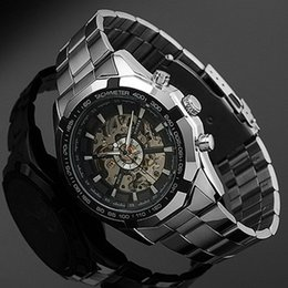 man wrist watch hand Australia - 2018 Stainless Steel Hand-winding Hollow Automatic Sport Mechanical Wrist Watch Men J190705