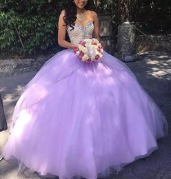 Beading Charms Australia - Charming Lavender Beading Rhinestones Quinceanera Dresses Ball Gown Prom Cheap 2019 Nude Tops Two Layers Sweet 16 Dress For Girls Vestido De