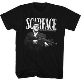 Custom Machine Guns NZ - Scarface T-Shirt Machine Gun Black T-Shirt T-Shirt For Men Online Designer Custom Short Sleeve Boyfriend's XXXL Men's T-Shirts