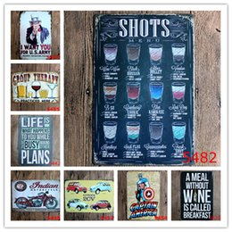 Home Paints Designs Canada - US Army CV Indian Motorcycle Shots Superhero Poster Wall Decor Bar Home Vintage Craft Gift Art Iron painting Tin Poster(Mixed designs)