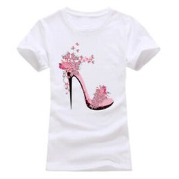 Men's Breathable Summer Shoes Australia - New 2019 T shirt Women High-heeled Shoes Printed Fashion Summer Women T-Shirt