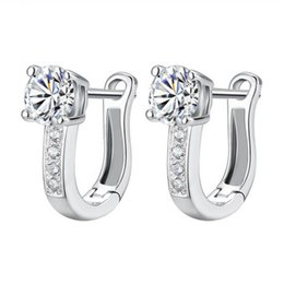 screw back earrings for women 2019 - High Quality Ear Buckle Rhinestone Earrings Crystal Cubic Zircon Ear Buckle Earrings For Elegant Women Wedding Jewelry d