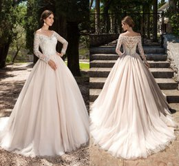 $enCountryForm.capitalKeyWord Australia - A-line Ivory Wedding Dresses V-neck Lace Appliques Long Sleeves Garden Elegant Button With Bridal Gowns See Through Back DH4160