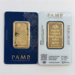 Toptan satış farklı seri numaralı 1 oz Gold Bar PAMP Suisse Lady Fortuna Veriscan Yüksek Kalite Altın Kaplama Bar İş hediyeleri Metal Meslekler