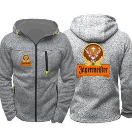 New AGERMEISTER Logo Print Männer Sport Casual Wear Hoodies Zipper Tide Jacquard Fall Sweatshirts Frühlings-Herbst-Jacken-Mantel-Trainingsanzüge