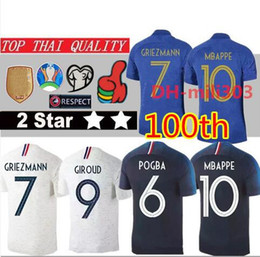 eb7c84d30 19 20 MBAPPE GRIEZMANN POGBA 100 years soccer jersey 2 stars football shirt  100th anniversary 2018 world cup KANTE Maillot de foot kids kit