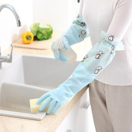 Kitchen plus online shopping - new waterproof Winter plus velvet warm housework cleaning gloves long beam kitchen washing dishes do not hurt hand chores gloves