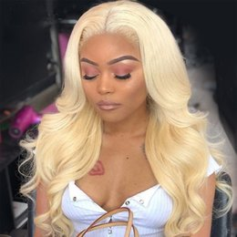 blonde body wave full lace UK - Brazilian Body Wave Human Hair wigs #613 Lace Frontal wigs 150% Density Pre-Plucked Hairline With Baby Hair Blonde Full Lace wigs