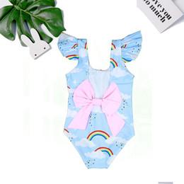 LittLe girLs one piece swimwear online shopping - European Little Children Swimwear Swimsuits One piece Rainbow clouds Ruffled Sleeve Back Big Bow Summer Boutique Quality