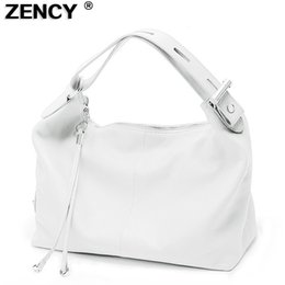 $enCountryForm.capitalKeyWord Australia - Zency 100% Soft Genuine Leather Women Ol Style Handbag Extendable Top Handle Bag Cowhide Ladies Casual Tote Shoulder White Bags Y19061803