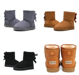 Cowhide snow boots online shopping - 2019 Australia kids Snow Boots Genuine Cowhide Leather Ankle Boots Warm Winter Boots Woman shoes large size