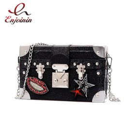 open lips 2019 - Black & Silver Box Style Star Red Lips Badge Pu Leather Ladies Perty Clutch Bag Shoulder Bags Mini Messenger Bag Women&#