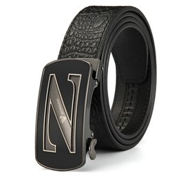 Z Buckle Leather Belt UK - Toppest Quality Real Genuine Leather Male Belts First Layer Cowskin Strap Men Crocodile Design Metal Z H I Buckle Dropshipping