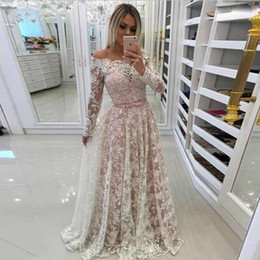 $enCountryForm.capitalKeyWord NZ - Off-the-Shoulder White Lace Prom Dresses A-line Bow Tie Belt Pearls Floor Length Formal Gown Zipper Back Long Evening Party Dress