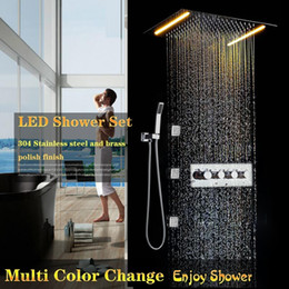 concealed shower set Australia - Concealed Bathroom Shower Faucet Hot And Cold Mixer Set Mixing Shower Valve LED Rain Shower Head Complete Set Multi Functions