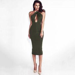 c09186055d76 Womens Dresses 2019 Summer New Sexy Metal Halter Dress Sexy V Neck Bag Hip  Club Skirt Tight Solid Color Dress 5 Colors