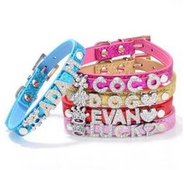 Chinese  Big Sale 50% off! Mix 5 Colors&4 Sizes!Croc Pu leather Personalized DIY Name Charm Dog Pet Collar Pet Supplies(Price exclude sliders) 50 pcs manufacturers