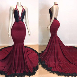 $enCountryForm.capitalKeyWord NZ - 2019 Sexy Backless Burgundy Mermaid Long Prom Dresses with Black Lace Appliqued Formal Evening Gowns Halter Deep V Neck Sequins