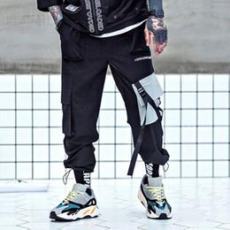 ec071c46b51af Hombres Hip Hop Joggers Tobillo Longitud Bolsillos Pantalones Harem  Harajuku Streetwear Pantalones Tácticos Baggy Moda Swag Ribbon