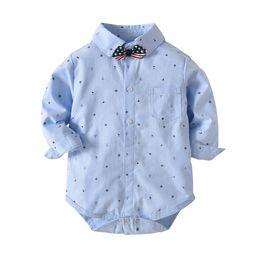Gentleman Romper Jumpsuit Australia - Baby Boys Collared Romper 1-3T Formal Gentleman Long Sleeve Jumpsuit Wedding Party Outfit Bodysuit