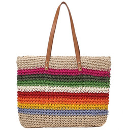 shoulder bag trend Australia - Fashion Lady Handbag Beach Rainbow Color Lady Handbag Shoulder Korean Version Of The Trend Beach Straw Bag