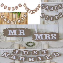 Discount bridal shower photo booth props Vintage Wedding Bunting Banner Photo Booth Props Signs Garland Bridal Shower Wedding Decoration S1