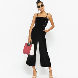 woman sexy jumpsuits black UK - Women Sleeveless Button Jumpsuits Overalls Bib Pants Dungaree Trousers sexy bodysuit jumpsuits for women 2018 rompers