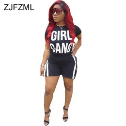 two piece club clothing Australia - White Letter Print Two Piece Sweatsuits Women Clothes 2019 Sexy Club Outfits Short Sleeve T Shirt And Double Side Split Shorts