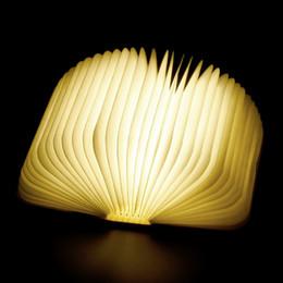 Wooden Bedside Tables Australia - Creative Wooden Book Lamp Warm LED Night Light USB Rechargeable Foldable Desk Table Lamp Bedroom Bedside Lamp for Children Kids Girl Gift