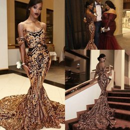 Celebrity Occasions Dresses NZ - 2019 Arabic Luxury Gold Black Prom Celebrity Dresses Mermaid Off Shoulder Sexy African Vestidos Special Occasion Dresses Evening Wear BC1413