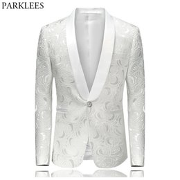 White Single Rose Australia - Men's Hipster Rose Floral Suit Jacket 2018 Brand New Slim Fit Single Breasted One Button Tuxedo Blazer Jacket Stage Costumes 4xl Y190422