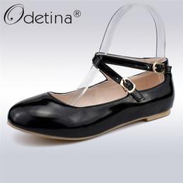 Ballet Straps Australia - Odetina New Women Ballet Flats Buckle Ankle Strap Mary Jane Flats Ballerina Flat Shoes Cross Strap Comfortable Shoes Big Size 47