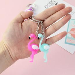 $enCountryForm.capitalKeyWord Australia - New 3D Cartoon Cute Chaveiro Flamingo Keychain Cute Animal Car Keyring Ring Bag Men and women Keychain Small Pendant
