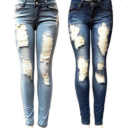 джинсы женские оптовых-Women s Skinny Hole Ripped Jeans New Fashion Women Baggar Pants Heigh Quality Boyfriend Denim Biker Jeans Female Pencil Pants