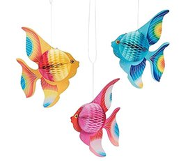 $enCountryForm.capitalKeyWord UK - 6pcs=1set Multicolor Tissue Paper Goldfish Tropical Fish Sea Creatures Hanging Children's birthday Party Supplies Ornament Decoration