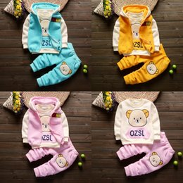 Baby Winter Bear Suits NZ - Kids tracksuit boys hooded clothing boys bear clothing sets autumn winter 3 pcs suit coat clothes baby cotton causal clothing sets