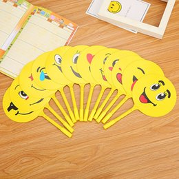 $enCountryForm.capitalKeyWord NZ - 5Pcs Funny Expression Cartoon Emoji Fan Shape Ballpoint Pen School Writing Supplies Student Stationery Ball Pen Kids Reward