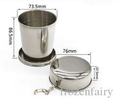 stainless steel collapsible travel cup Australia - Wholesale 240ML Stainless Steel folding Portable Mini Travel Retractable Cup Keychain Folding Collapsible Cup