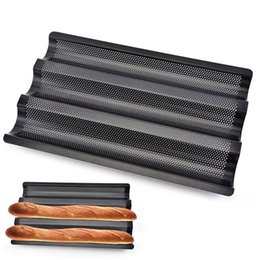 $enCountryForm.capitalKeyWord Australia - Baking Tools Pans Baguette Mold 3 Styles Non-Stick Perforated French Bread Baker Baking Wave Stainless Steel Baguette Pan Mold BH0895 TQQ
