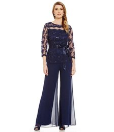 $enCountryForm.capitalKeyWord Australia - 2019 Navy Blue Two Pieces Mother Of Bride Pant Suits Sheer Jewel Neck Lace Beads Sequins Mother of Bride Dresses Mother Groom Dresses