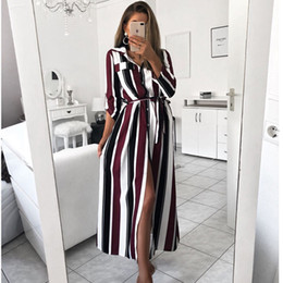 $enCountryForm.capitalKeyWord Australia - 2019 Office Lady Turn-Down Collar Button Lace Up Long Shirt Dress Women Autumn Spring Long Sleeve Stripe Maxi Dresses
