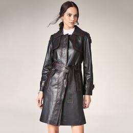 $enCountryForm.capitalKeyWord NZ - Ma'am Windbreaker 2019 Hit Color Sheepskin Bar Lapel Waist Long Fund Self-cultivation Fashion Loose Coat Suit-dress designer trench women